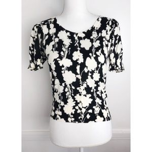 Loft • Black and White Floral Cardigan